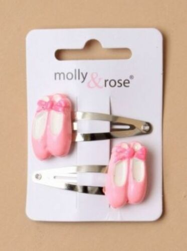 Ladies Girls Kids 2 Pack Pink Ballet Shoe On Silver Hair Snap Clips