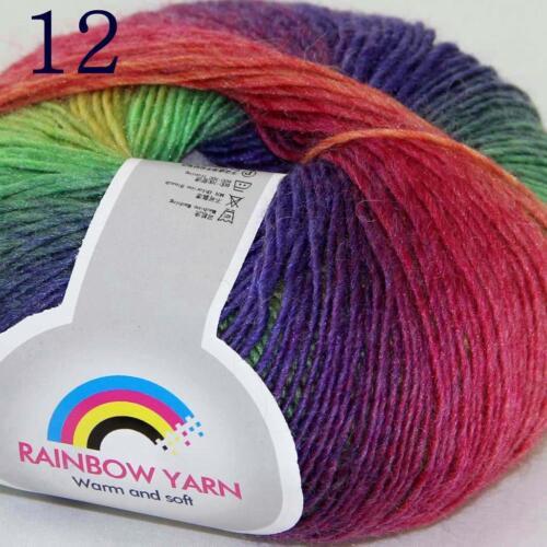 Sale Soft Cashmere Wool Colorful Rainbow Wrap Shawl DIY Hand Knit Yarn 50gr 12