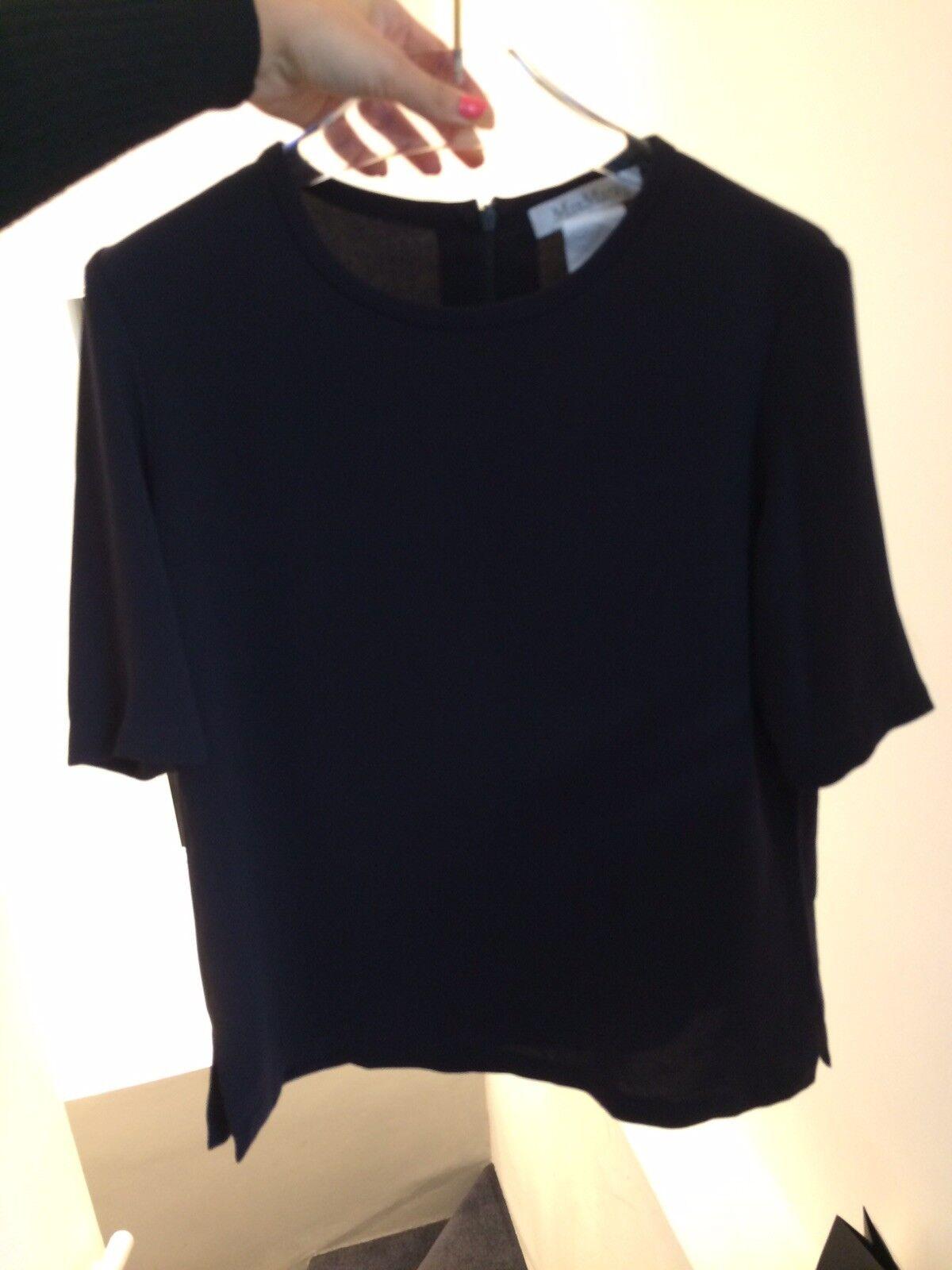 Max Mara schwarz Top, Max Mara Short Sleeve Top, schwarz Top, Größe 6 UK