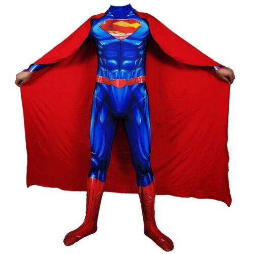 Adult Men Superman Clark Kent Cosplay Halloween Costume Superhero Bodysuit