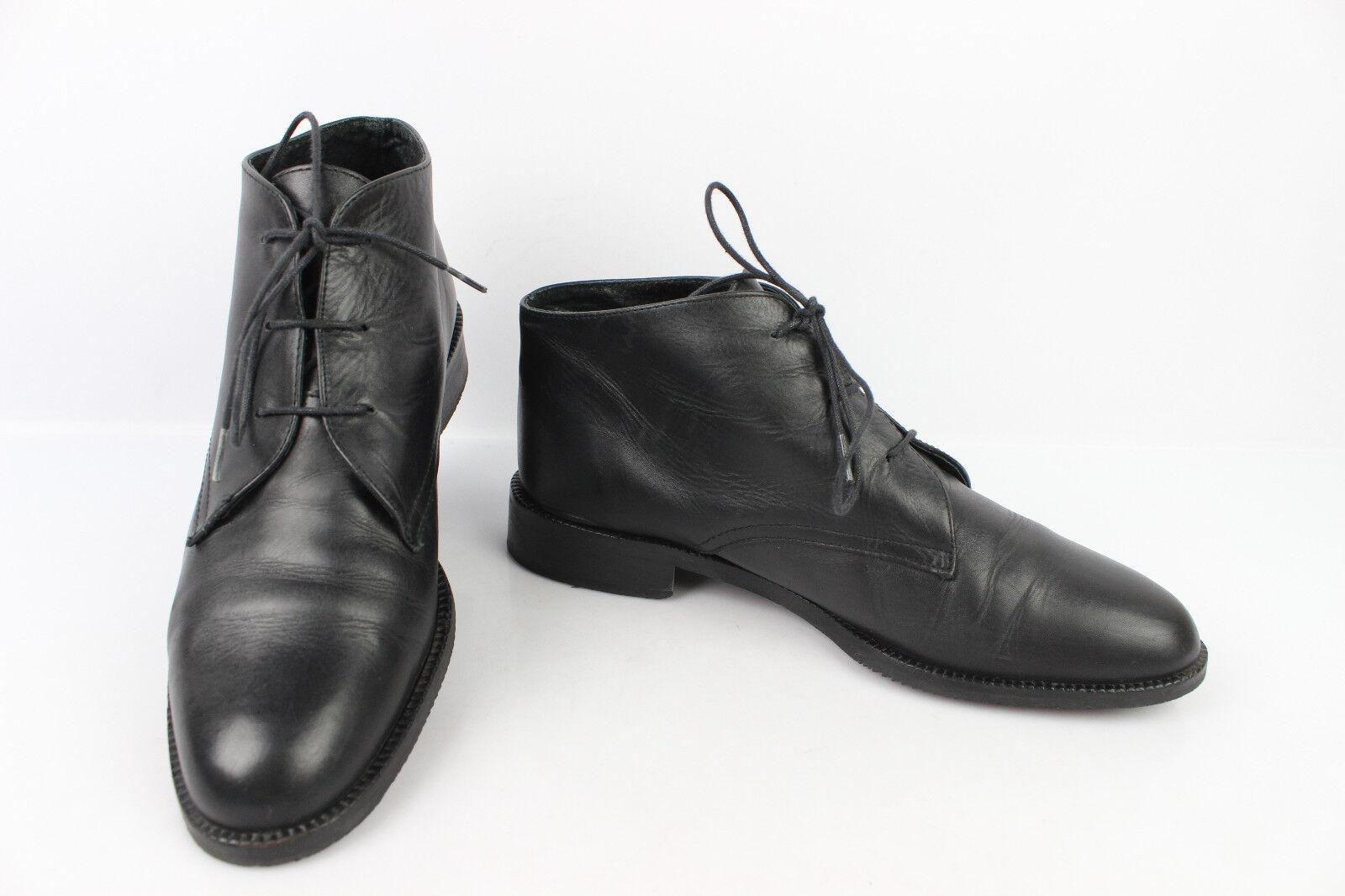 VINTAGE Boots à Lacets Cuir black Doublé Cuir T 37,5 TRES BON ETAT