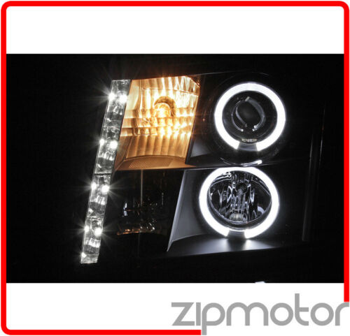 02-06 CADILLAC ESCALADE HALO DRL LED BLACK PROJECTOR HEADLIGHT W//6K HID 03 04 05