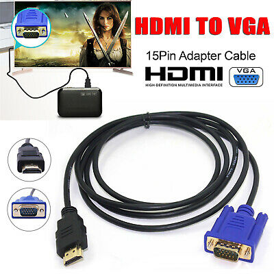 1M HDMI to VGA D-SUB Male Video Adapter Cable Lead for HDTV PC Computer Monitor Video Adapter Cable