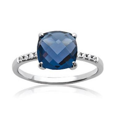 Bague Cristal Solitaire Pierre Bleu Saphir Argent Massif 925/1000 Bijoux  Femme   eBay