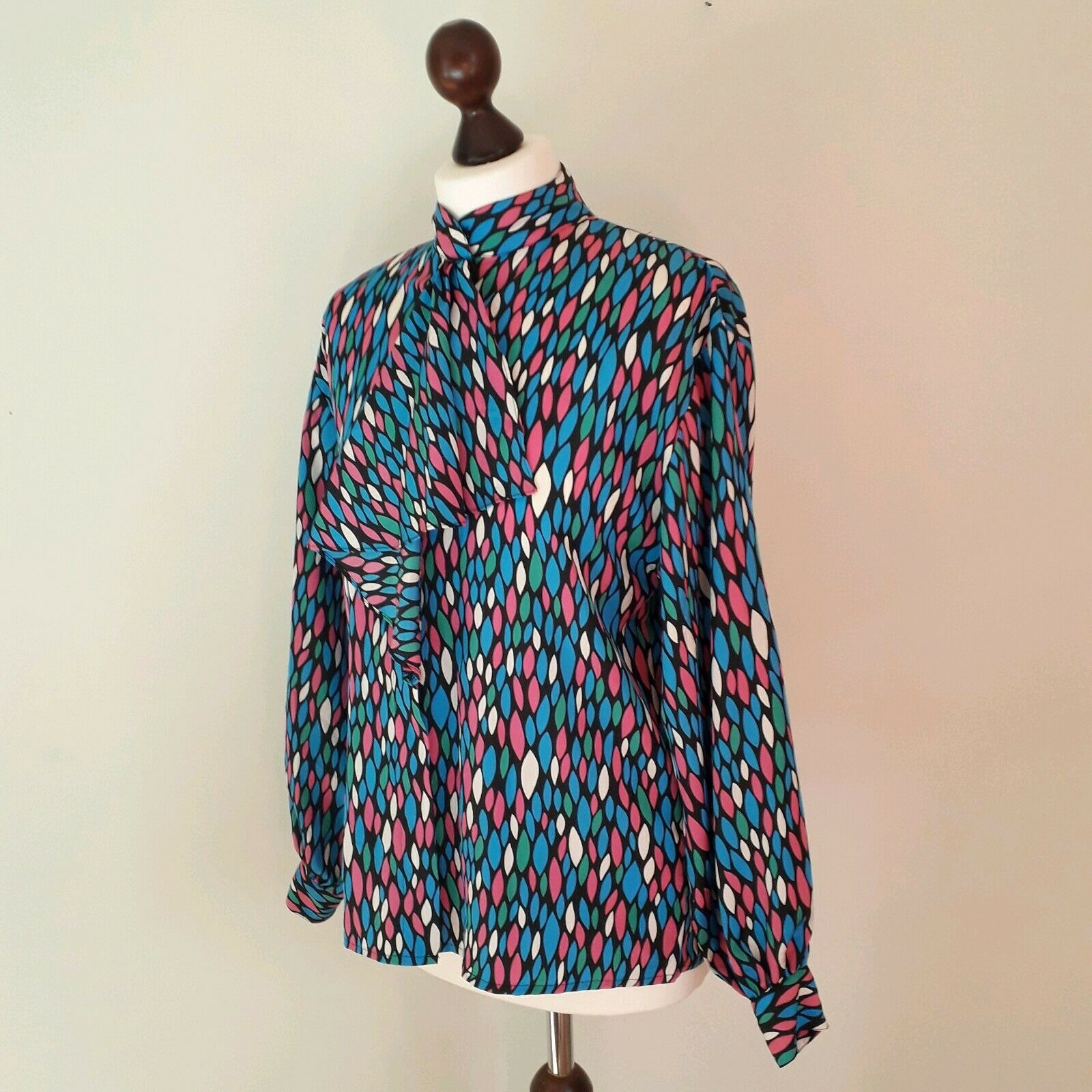 Balenciaga Womens Vintage Blouse Top 6 8 Psychedelic Ruffle Pink bluee Loud 80s