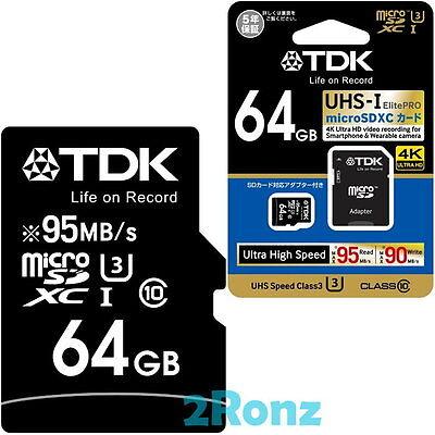TDK ElitePRO U3 64GB 64G Micro SDXC SDHC Flash Card Mobile TF UHS-I C10 95MB/s