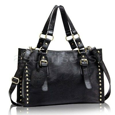 New Retro Women Punk Rivet Shoulder Bag Black Purse Satchel Tote Handbag