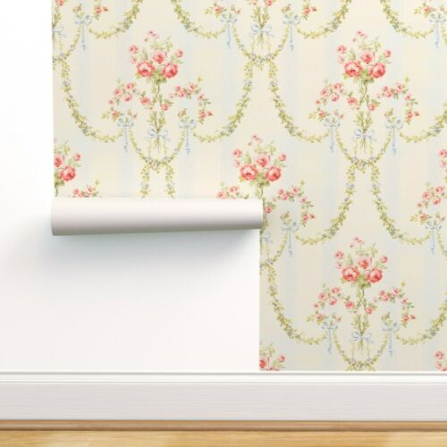 Wallpaper Roll Floral Vintage Victorian Damask Stripe Chic Marie 24in x 27ft
