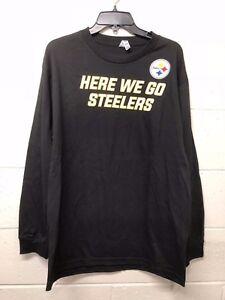 500cce18096 NWT NFL MEN Pittsburgh Steelers Black Football T-shirt Here we go ...