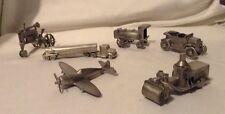 Kirk Stieff Pewter Amoco Gas Set, Farm Tractor, Plane, Truck, Car, Figurine