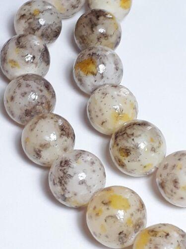 14mm B26558 Grade C 4pcs Yellow /& Brown Dyed Agate Gemstone Beads