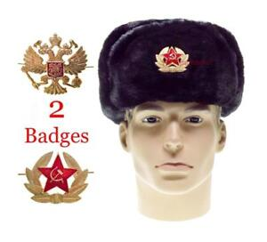 Image is loading Ushanka-Badge-USSR-Russian-Army-Cap-Military-Winter- 8e03cd2abdd2
