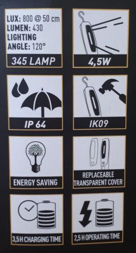 ZECA 345 TORCHE//LAMPE PORTABLE RECHARGEABLE COB LED STRIP LAMP VOITURE//ATELIER
