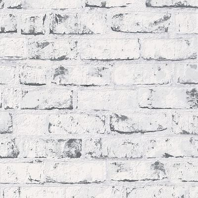 Grey / White - 9078-37 - Brick Effect - Distressed - A.S. Creation Wallpaper