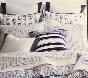 1a531ba3c6 Details about Ralph Lauren ~ Nora Standard Pillowcases Blue & White Painted  Zig Zag ~ NEW $70