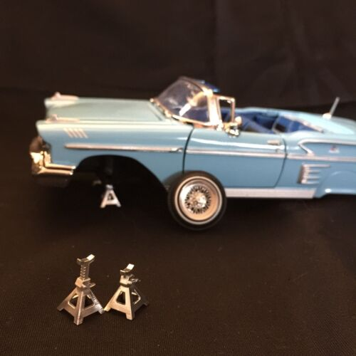 """1:25 3d Printed Set Of Four """"Lowered"""" Chrome Jack Stands."""