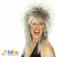 80s ASH BLONDE & BLACK ROCK DIVA TINA LONG MULLET WIG womens ladies fancy dress