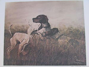 Vintage-John-Le-Roi-Sheffer-Hunting-Dogs-Signed-Wall-Art-Print-1974-24-034-x-18-034