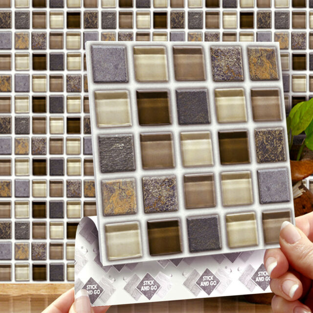 8 Glass Stone Mosaic Stick On Wall Tile Stickers Transfers Kitchens Bathrooms