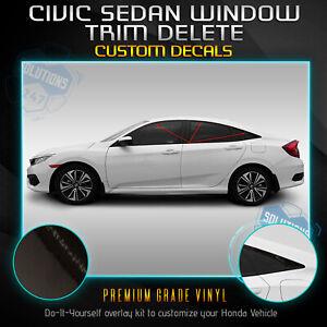 Glossy Black Chrome Delete Blackout Window Trims 6x For Honda Civic Sedan 16-21