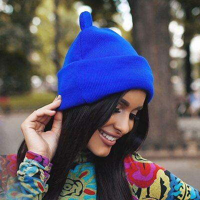 Women Devil Horns Cat Ear Cute Crochet Braided Knit Beanie Ski Wool Warm Cap Hat