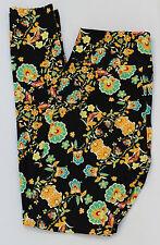 LuLaRoe leggings OS Beautiful Black Mint Blue Tan Floral Rare NWT One Size
