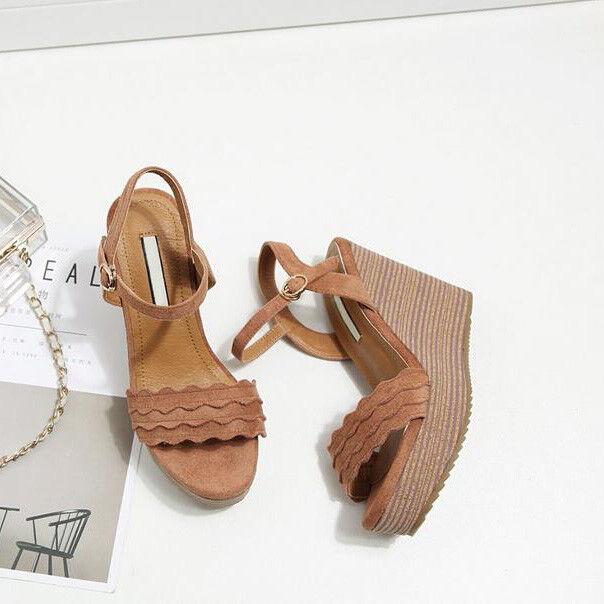 Sandali eleganti  beige corda 16 cm zeppa platform pelle sintetica eleganti 1106