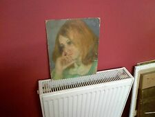 Fine Mid 20th c, English School Oil on Board. Pensive Lady Study.