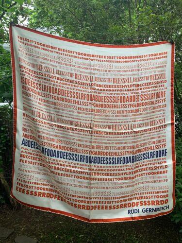 1960s Rudi Gernreich Silk FONT Red & Blue  scarf r
