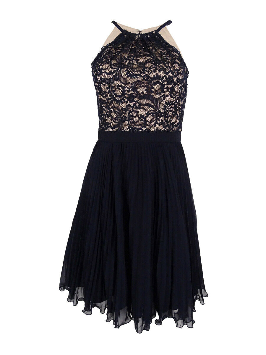 Xscape Women's Pleated Lace Fit & Flare Dress (2, Navy Nude)
