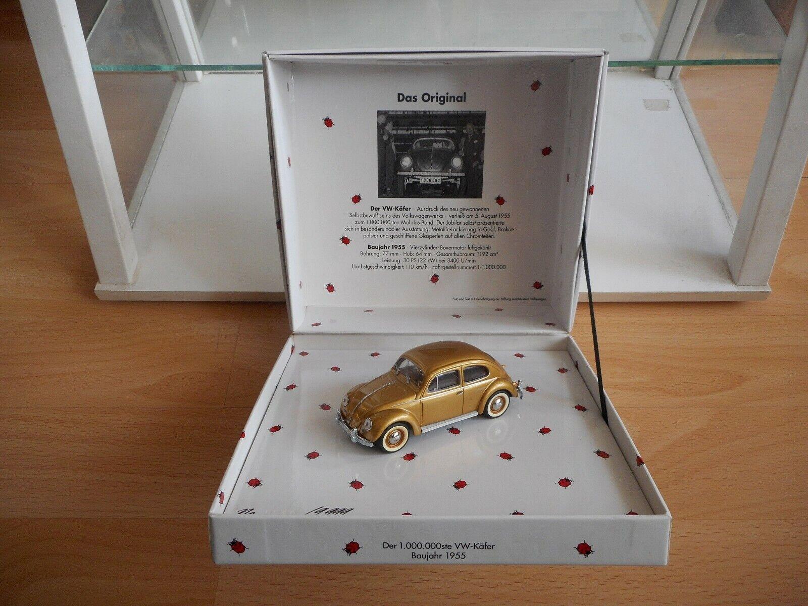 Minichamps VW Volkswagen Beetle  Der Millionste Kafer Kafer Kafer  in gold on 1 43 in Box c09839