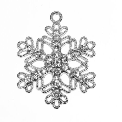 5 LARGE SILVER TONE RHINESTONE FILIGREE SNOWFLAKE 40x32mm~Christmas~Frozen X82