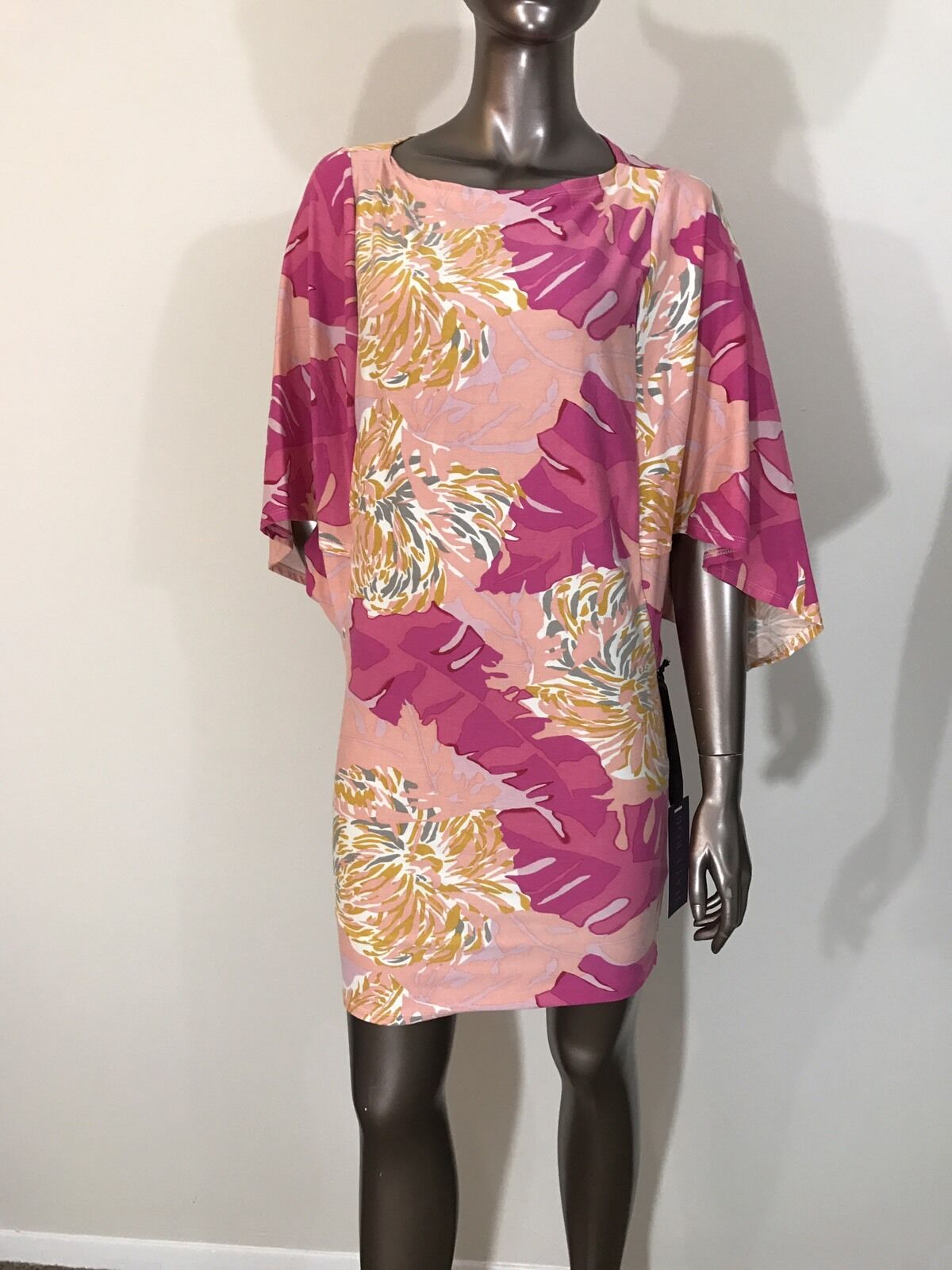 NWT Hale Bob paisley abstract peach salmon printed batwing dress size XS