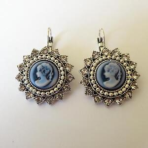 00959b23f WOMEN'S EARRINGS C. SILVER With Blue Cameo Woman Face White Crystals ...