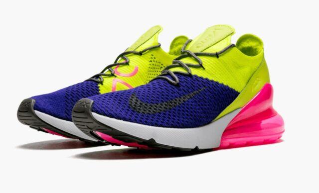 fca85673d993 Nike Air Max 270 Flyknit Running Shoes Purple Volt Pink AO1023-501 Men s New