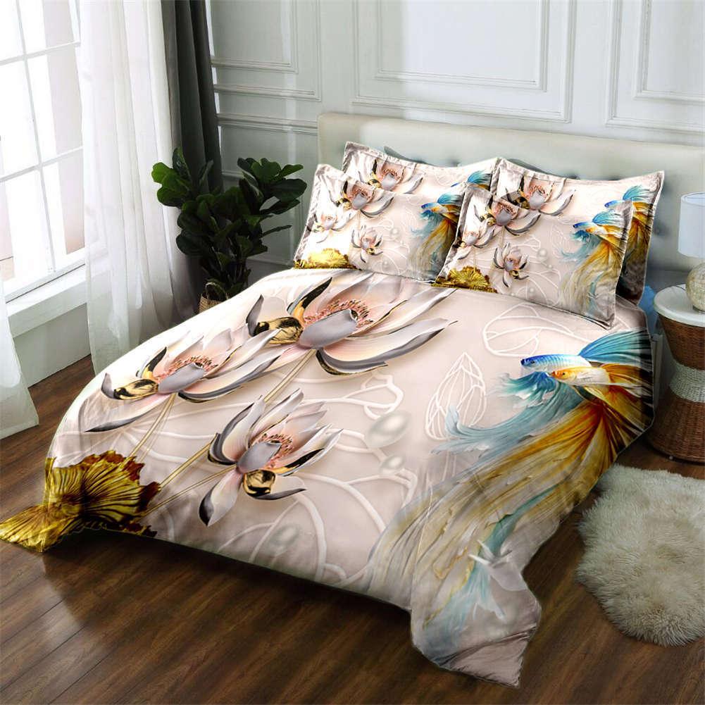 Lotus Sculpture 3D Printing Duvet Quilt Doona Covers Pillow Case Bedding Sets