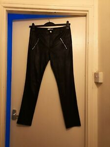 New-Ladies-Black-Leather-Immitation-Trousers-Size-Large-Laura-Jo-China