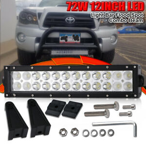Details About 12inch 72w Led Work Light Bar Spot Flood Double Row Fog Lamp For Truck Snow Plow