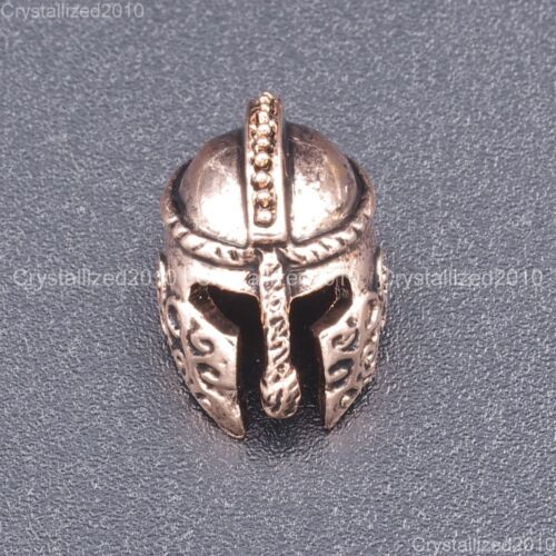 Solid Metal Ancient Greek Helmets Masks Tibetan Bracelet Connector Charm Beads