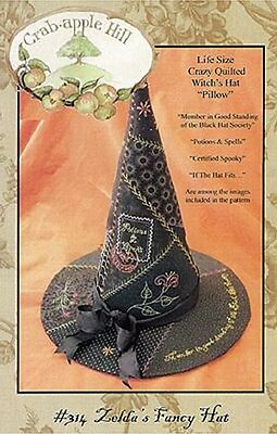 ZELDA'S FANCY HAT Crazy Quilted Witches Hat Pattern Crabapple Hill Des #314