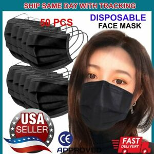 50-PCS-Black-Face-Mask-Non-Medical-Surgical-Disposable-3Ply-Earloop-Mouth-Cover