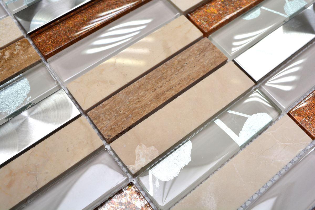 Mosaïque translucide rectangle inox verre verre verre pierre beige mur 87-52X_f 7641a9