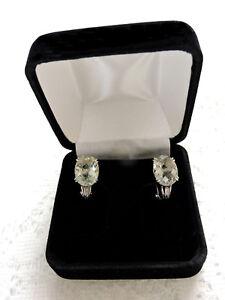 10K-White-Gold-and-Large-Prasiolite-Earrings-Never-Worn-Has-Velvet-Gift-Box