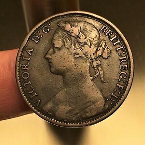 1877-Great-Britain-Penny-Coin-Queen-Victoria-KM-755-VF