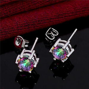 New Womens 925 Silver Plated Colourful Cubic Zirconia Earrings Jewellery Gift