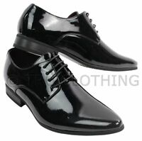 Mens Laced Smart Leather Lined Shoes Office Party Wedding Italian Design Patent