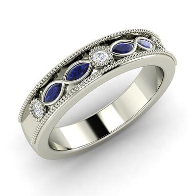 Royal Blue Sapphire & SI Diamond Vintage Look Engagement Ring In 14k White Gold