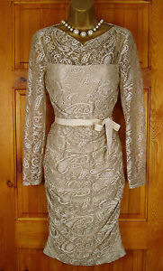 RRP-130-PHASE-EIGHT-OYSTER-CREAM-LACE-VINTAGE-STYLE-FITTED-PARTY-DRESS-UK-8-16