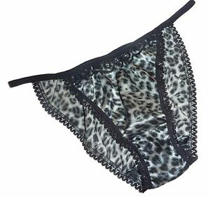 e38a3a3f0 GRAY LEOPARD shiny SATIN panties MINI TANGA string bikini black lace ...