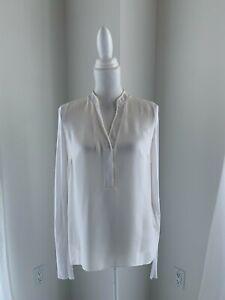 Elie Tahari Ivory Silk & Modal Long Sleeve Mesh Net Trim Tunic Blouse Top SZ M